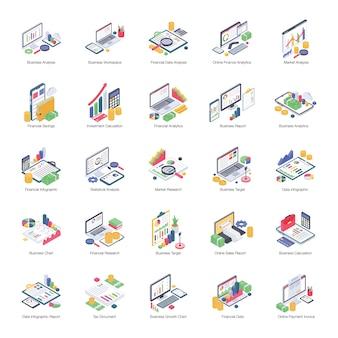 Pacote de análise de dados de ícones isométricos