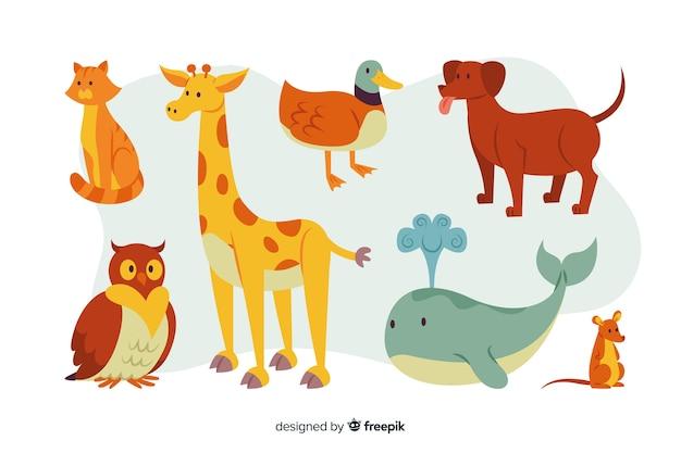 Pacote de animais coloridos dos desenhos animados