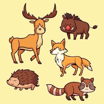 Pacote de animais da floresta outono desenhado à mão