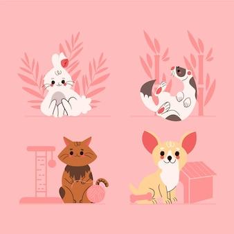 pacote de animais de estimação adoráveis