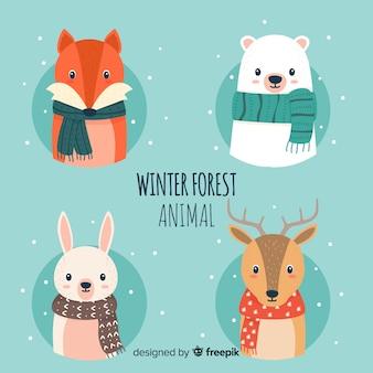 Pacote de animais de floresta de inverno