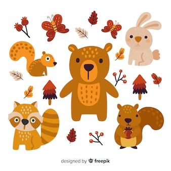 Pacote de animais de floresta de mão desenhada