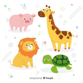 Pacote de animais doce em design plano