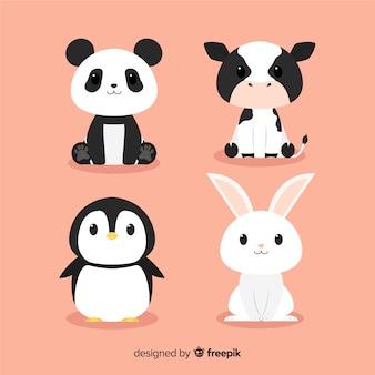Pacote de animais fofos desenhados à mão design plano