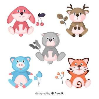 Pacote de animais fofos desenhados à mão