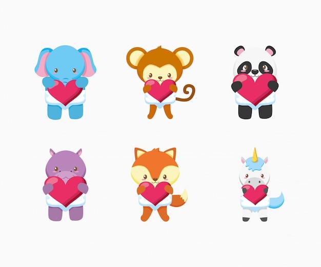 Pacote de animais fofos e design de ilustração de brinquedos de bebê