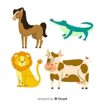Pacote de animais ilustrados fofo diferente