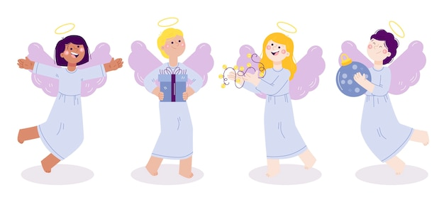 Pacote de anjos de natal desenhado à mão