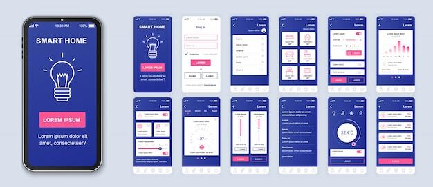 Pacote de aplicativo móvel doméstico inteligente de telas de interface do usuário, ux e gui para aplicativos