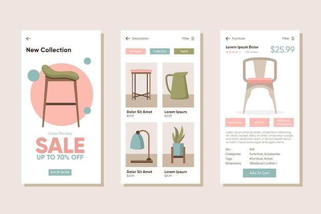 Pacote de aplicativos de compras de móveis