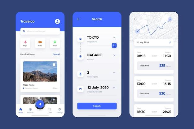 Pacote de aplicativos de reserva de viagens
