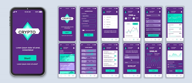Pacote de aplicativos móveis de criptomoeda de telas de interface do usuário, ux e gui para aplicativos