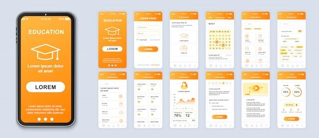Pacote de aplicativos móveis de educação de telas de interface do usuário, ux e gui para aplicativos