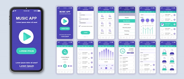 Pacote de aplicativos móveis de música de telas de interface do usuário, ux e gui para aplicativos