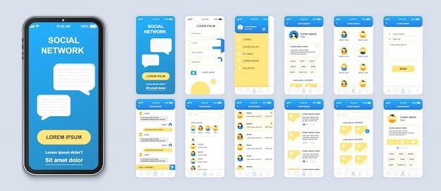 Pacote de aplicativos móveis de rede social de telas de interface do usuário, ux e gui para aplicativos