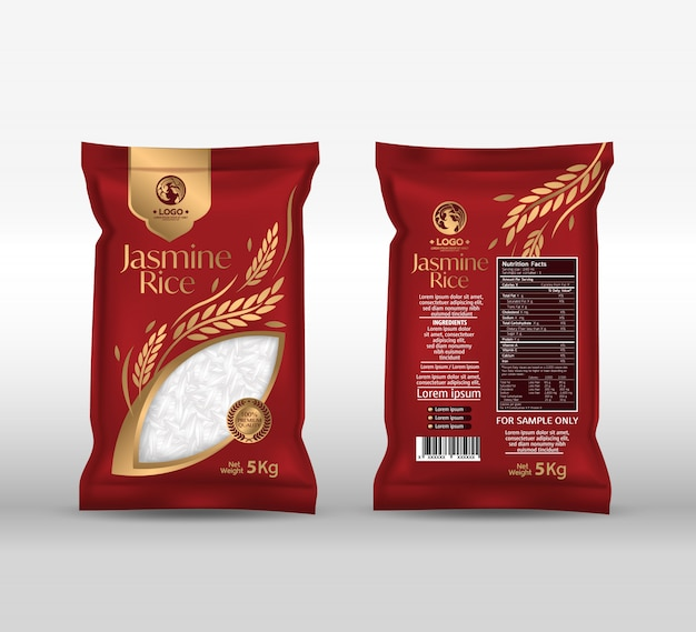 Pacote de arroz tailândia alimentos