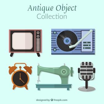 Pacote de artefatos antigos em design plano