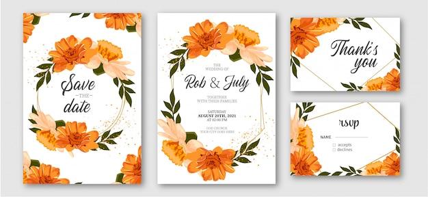 Pacote de artigos de papelaria de casamento bonito com flores laranja