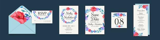 Pacote de artigos de papelaria de casamento floral