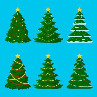 Pacote de árvore de natal desenhado à mão