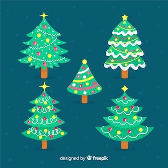 Pacote de árvore de natal na mão desenhada
