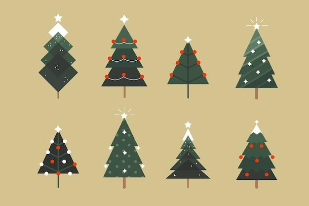 Pacote de árvore de natal plana