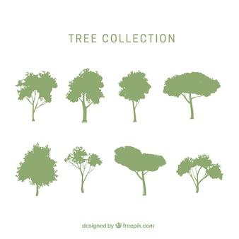 Pacote de árvores com silhueta