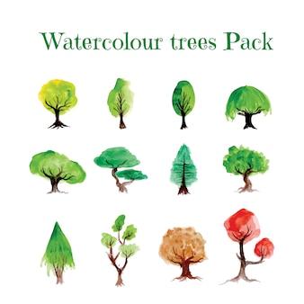 Pacote de árvores de aquarela