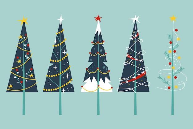 Pacote de árvores de natal de design plano