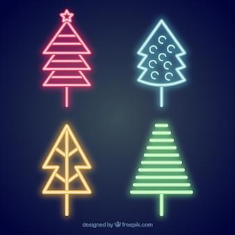 Pacote de árvores de natal de néon