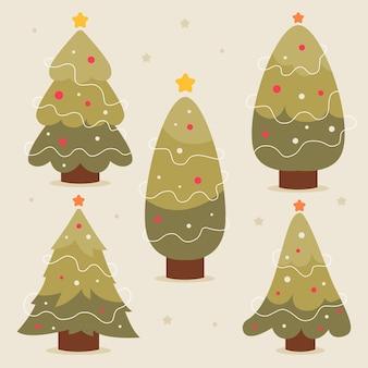 Pacote de árvores de natal decoradas desenhadas à mão