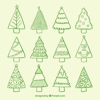 Pacote de árvores de natal desenhadas a mão
