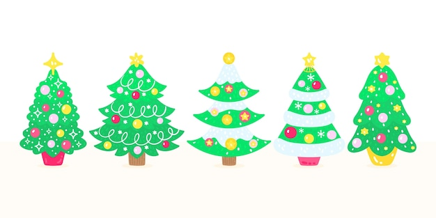 Pacote de árvores de natal desenhadas à mão