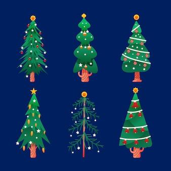 Pacote de árvores de natal desenhado