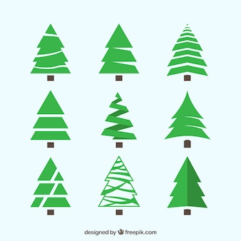 Pacote de árvores de natal verdes com diferentes estilos