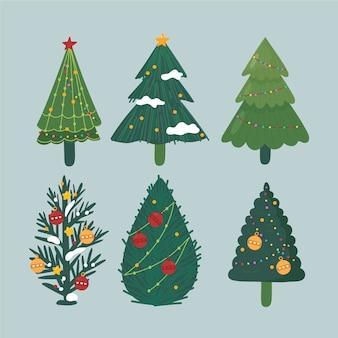 Pacote de árvores decoradas de natal