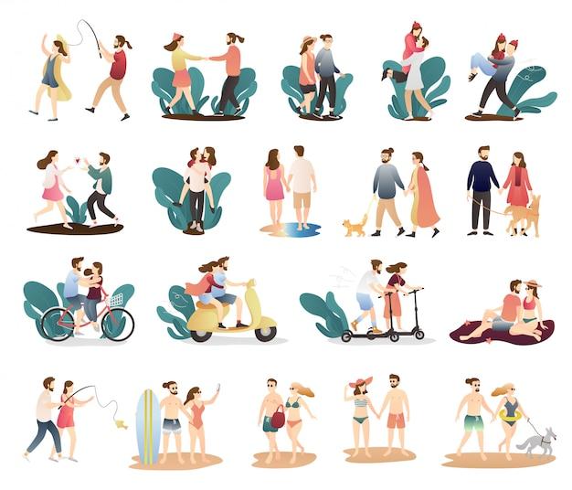Pacote de atividade bonito casal engraçado. atividades ao ar livre cenas de casal romântico.