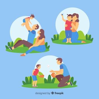 Pacote de atividades ao ar livre de família mão desenhada