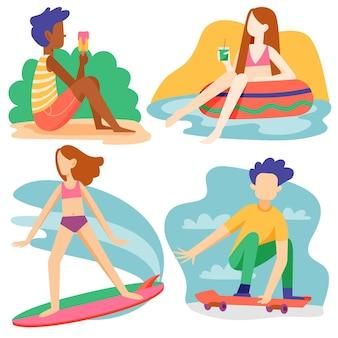 Pacote de atividades ao ar livre no verão