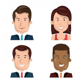 Pacote de avatar de empresários plana