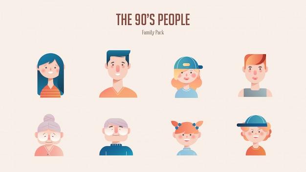 Pacote de avatar de família na ilustração gradiente