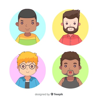 Pacote de avatar de homem dos desenhos animados