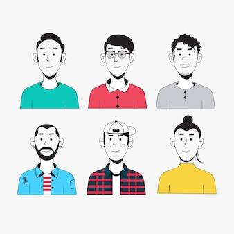 Pacote de avatar de pessoas com aparência diferente