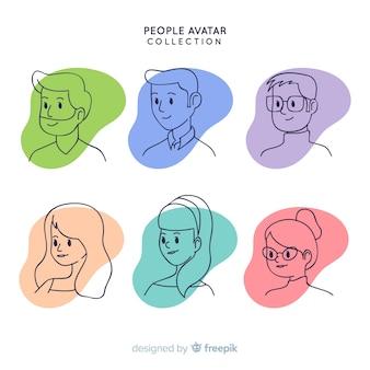 Pacote de avatar de pessoas desenhadas a mão