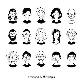 Pacote de avatar de pessoas dos desenhos animados