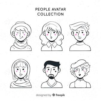 Pacote de avatar de pessoas incolores