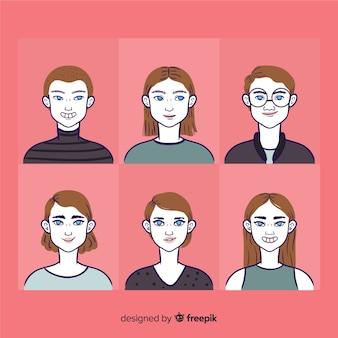 Pacote de avatar de pessoas simples