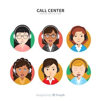 Pacote de avatar do call center criativo