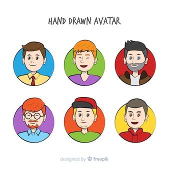 Pacote de avatar meninos coloridos
