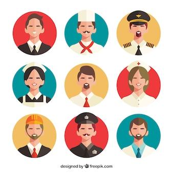 Pacote de avatares com várias profissões